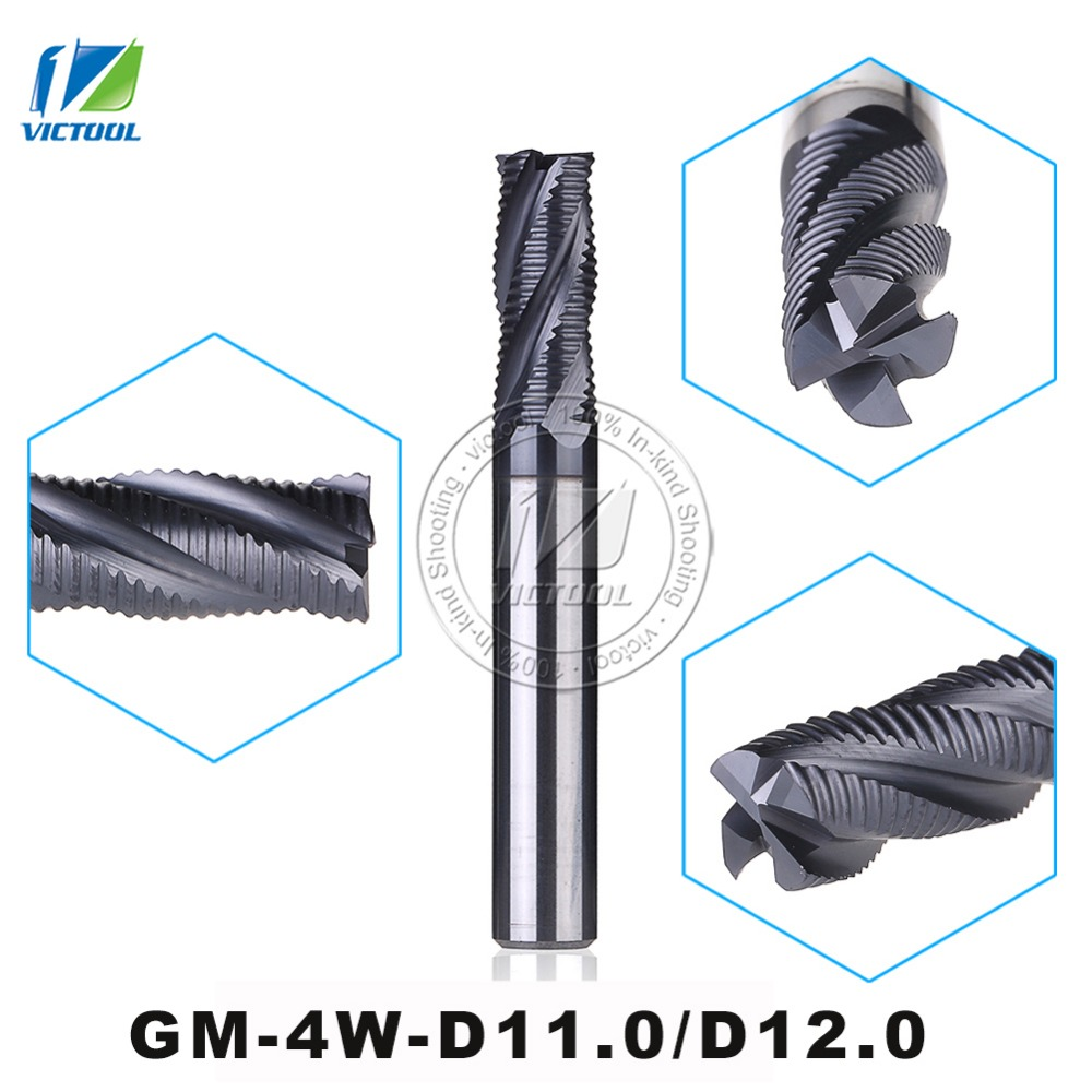 GM-4W-D11.0/D12.0 High Speed Milling Cutters 4-Flute Flattened End Mills With Straight Shank And Corrugated Edges Milling Tools цены