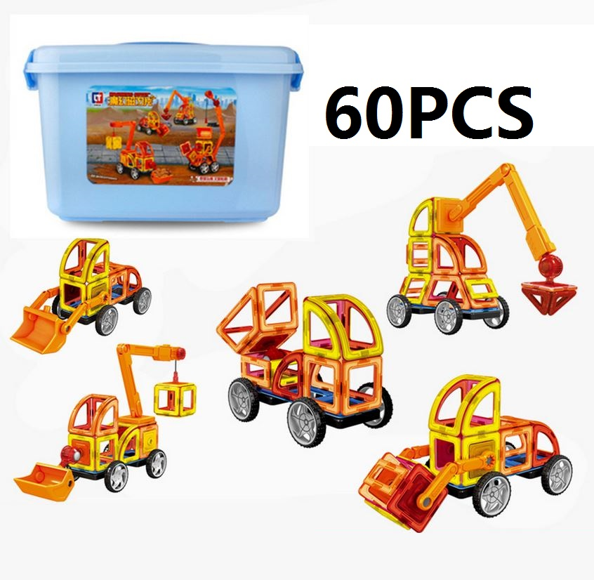ФОТО Free Ship 60pcs/lot 3D Enginneer Cars Magnetic Assembling Building Blocks DIY Learning & Education Toys Bricks Toys for Children