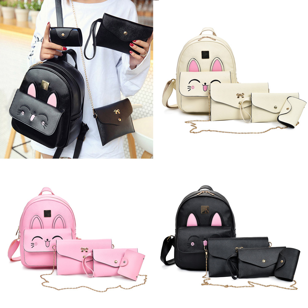 4Pcs Women Pattern Leather Backpack+Crossbody Bag+Messenger Bag+Card Package JUNE7