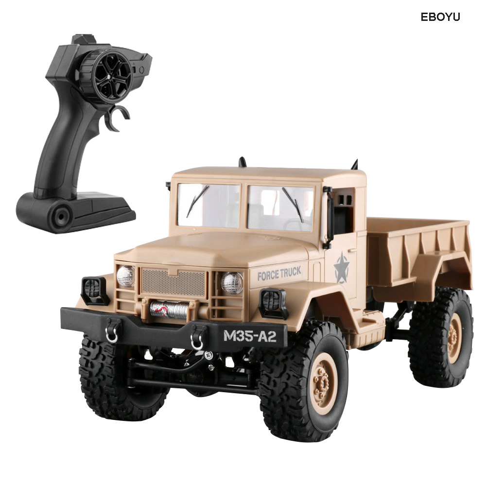 EBOYU FY001A 2.4Ghz 1/16 4WD Off-road RC Truck with Front Light Brushed Military Truck RTREBOYU FY001A 2.4Ghz 1/16 4WD Off-road RC Truck with Front Light Brushed Military Truck RTR
