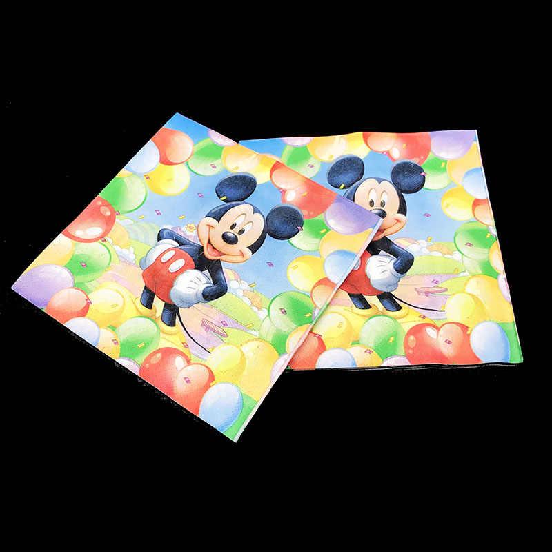 20 unidades/pacote Mickey Mouse theme guardanapos descartáveis Mickey Mouse decorações do partido Mickey Mouse talheres descartáveis