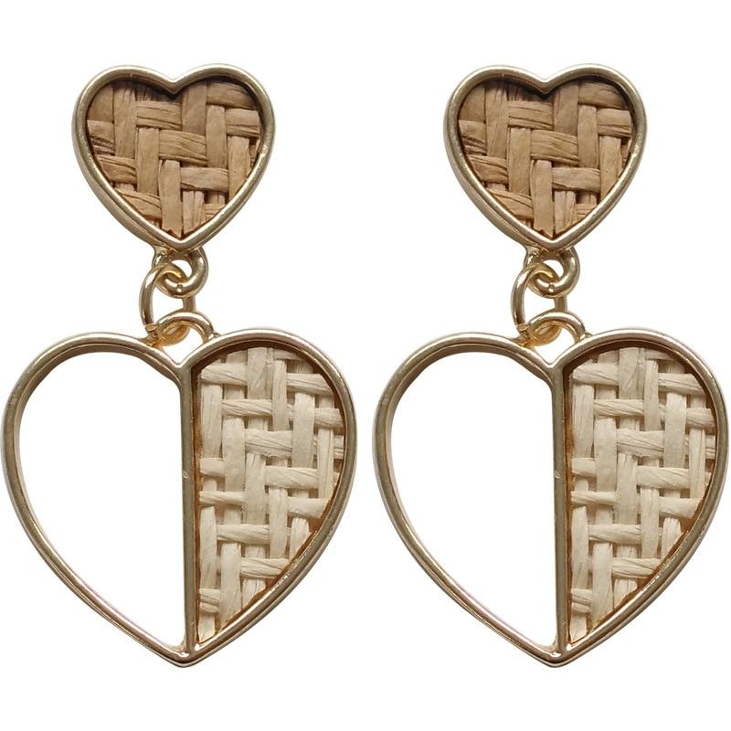 Creative and vintage knitted earrings Korea simple metal love hollow stud earrings metal edge stud earrings