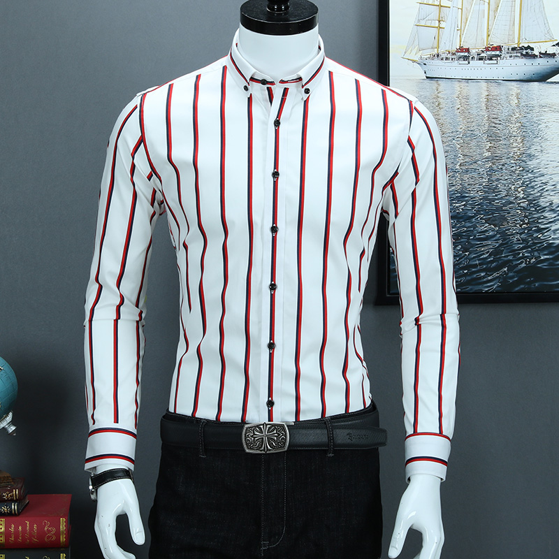 100% Pure Cotton 2019 New Design Brand Striped Business Casual Men Shirts Button-down Collar Non-iron Elegant Men Dress Shirts Making Things Convenient For The People
