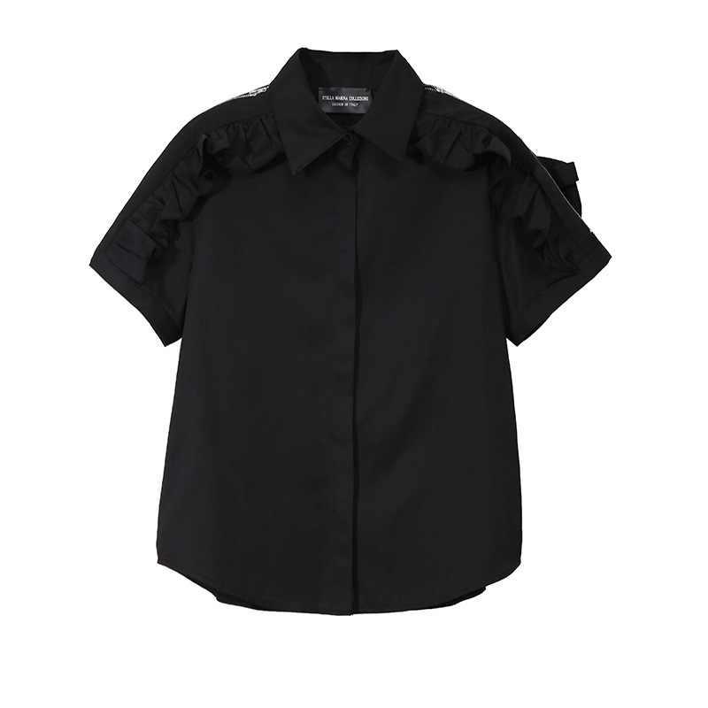 [EWQ] 2019 夏の新ファッション服透かしジッパーショルダーバッグターンダウン襟フリルの女性はルース Feminina シャツ QJ680