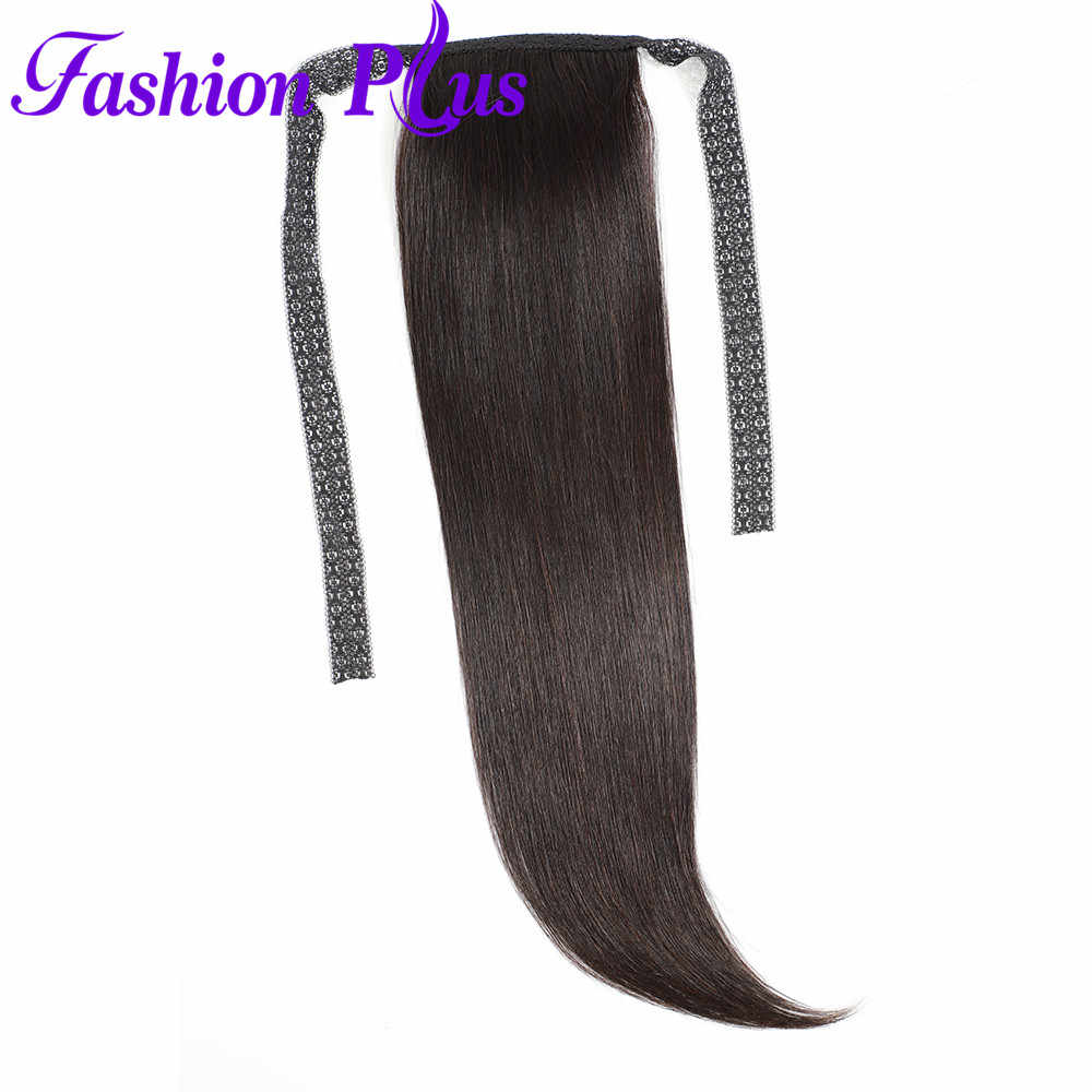 Fashion Plus Straight PonytailHuman Hair Clip In Extensions Brazilian Remy Natural Color Drawstring Ponytail