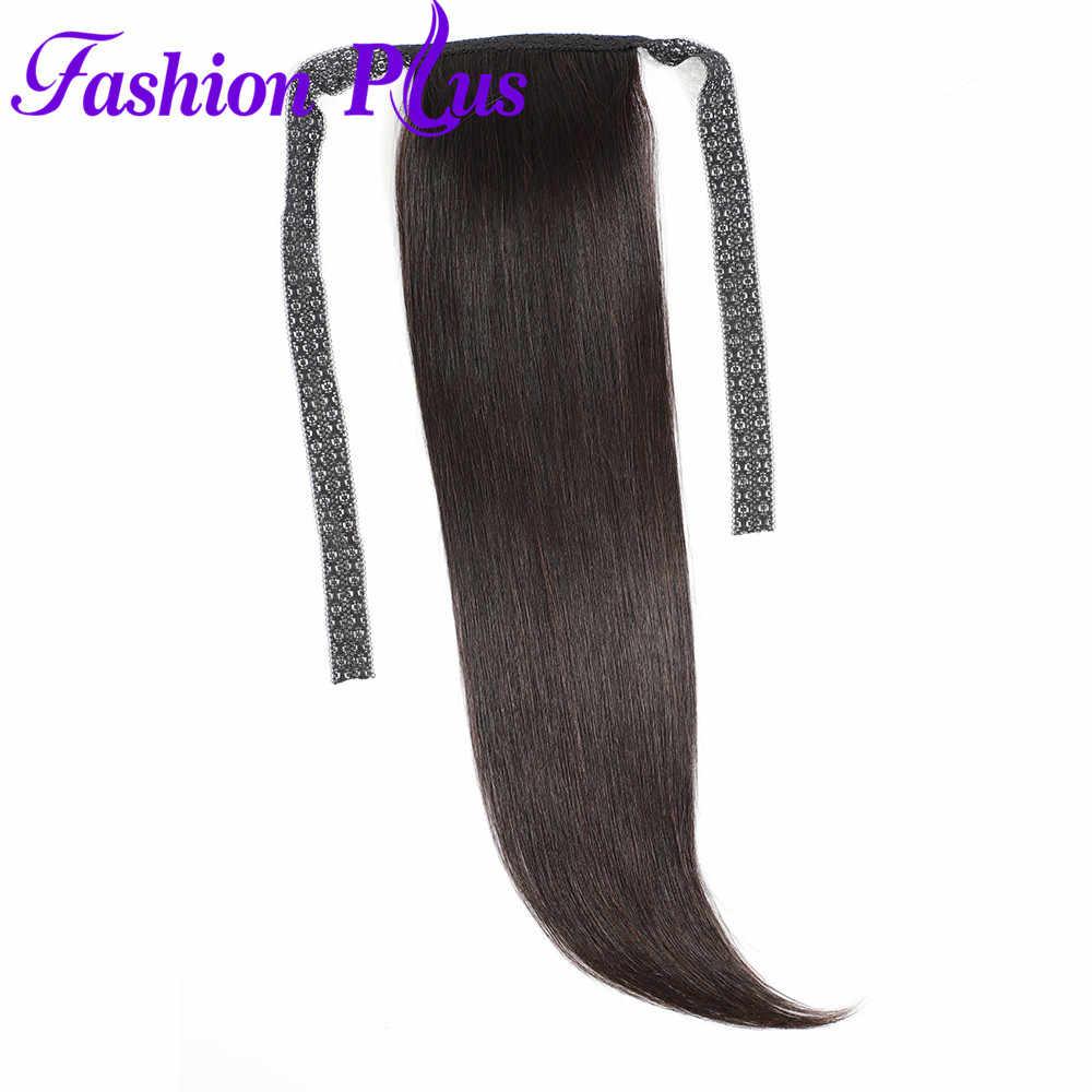 Pinza de pelo humano de cola de caballo recta más a la moda en extensiones de cola de caballo de Color Natural Remy brasileño