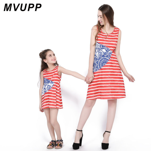 b3ac77e730a MVUPP family costumes mom and daughter dress striped sleeveless elastic  waist jumper dress girl and mom