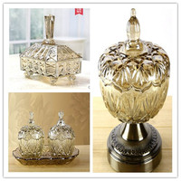 European K9 crystal glass bottle storage tank candy dried fruit box Home jewelry luxury decoration wedding gift Fruit tray CL032