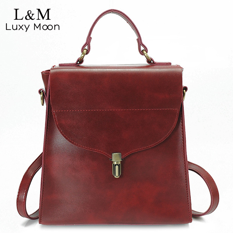 Women Vintage Leather Backpack Grey 2017 Fashion Backpacks Black Retro Style High Quality School Bags Shoulder
