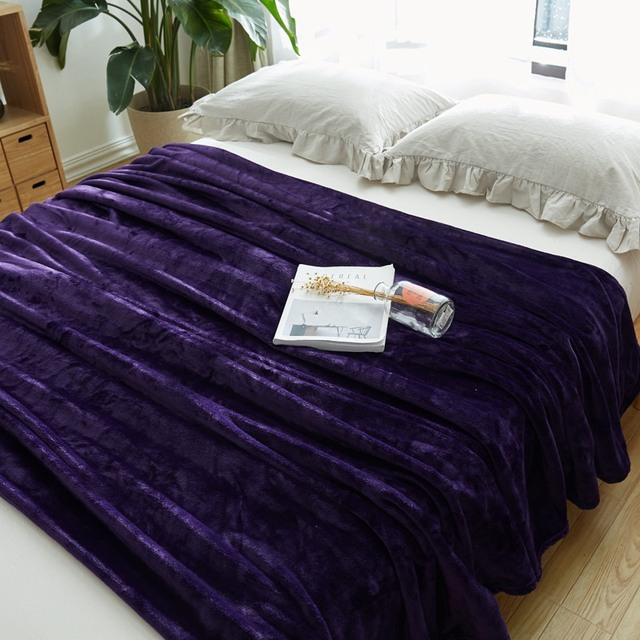 Dark Purple Fleece Blanket On The Bed Multi Size Flannel For Sofa