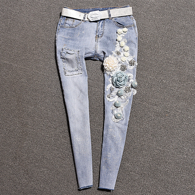 Women s Pencil Jeans 3D Flower Vintage Skinny Trousers Ripped Distressed Fashion Elastic Stretch Blue Trousers
