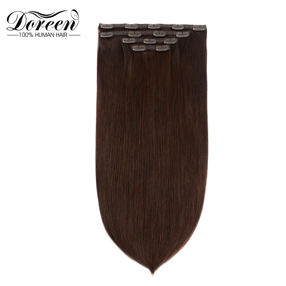Doreen Natural Human Hair Clip In Extensions Machine Made Remy Clip On Hair Extensions 4pcs/set 120g 160g Black