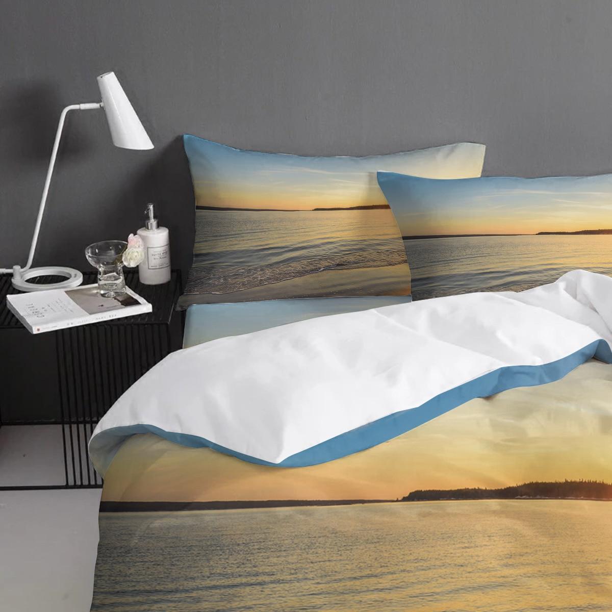 BIGHOUSES Bettbezug set Sunset meer landschaft strand wasser horizon natur landschaft Duvet Abdeckung 4 Stück Bettwäsche Set - 4