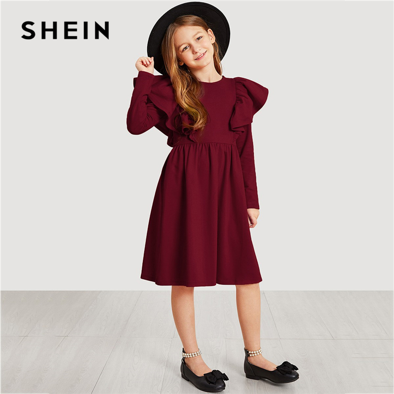 SHEIN Kiddie Burgundy Exaggerate Ruffle Girl Party Kids Dresses For Girls 2019 Spring Korean Fashion A Line Elegant Midi Dress trendy boat neck cap sleeve floral print a line zipper women dress