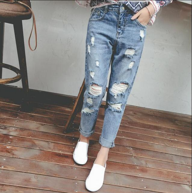 2016 Summer College Wind waist hole jeans female beggar pants loose harem pants feet pants