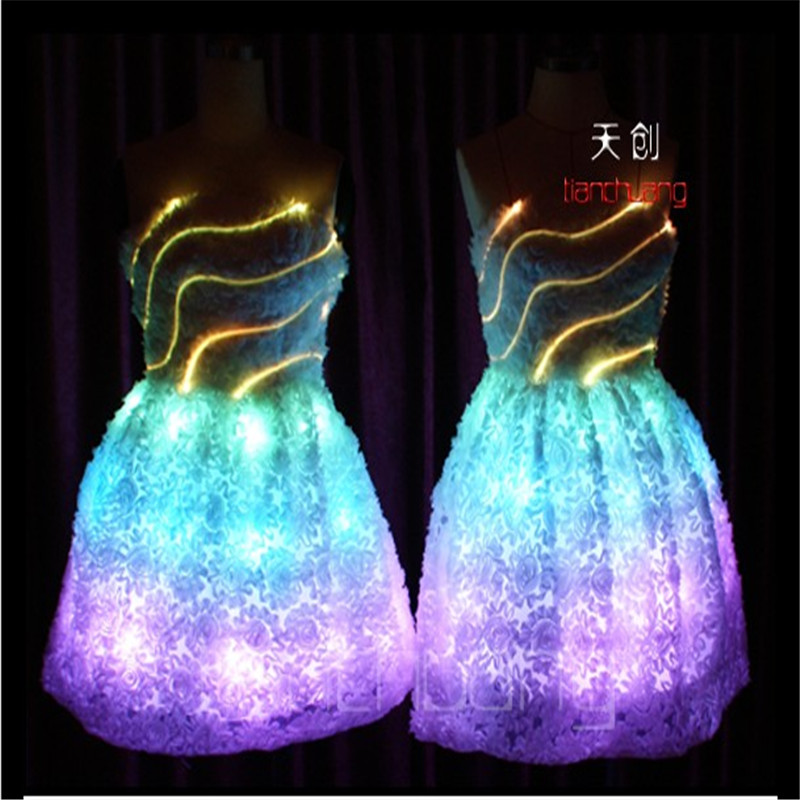 TC-7 Colorful women LED costumes Full color luminous skirt wear ballroom dance ballet RGB light dress programmable sexy clothes