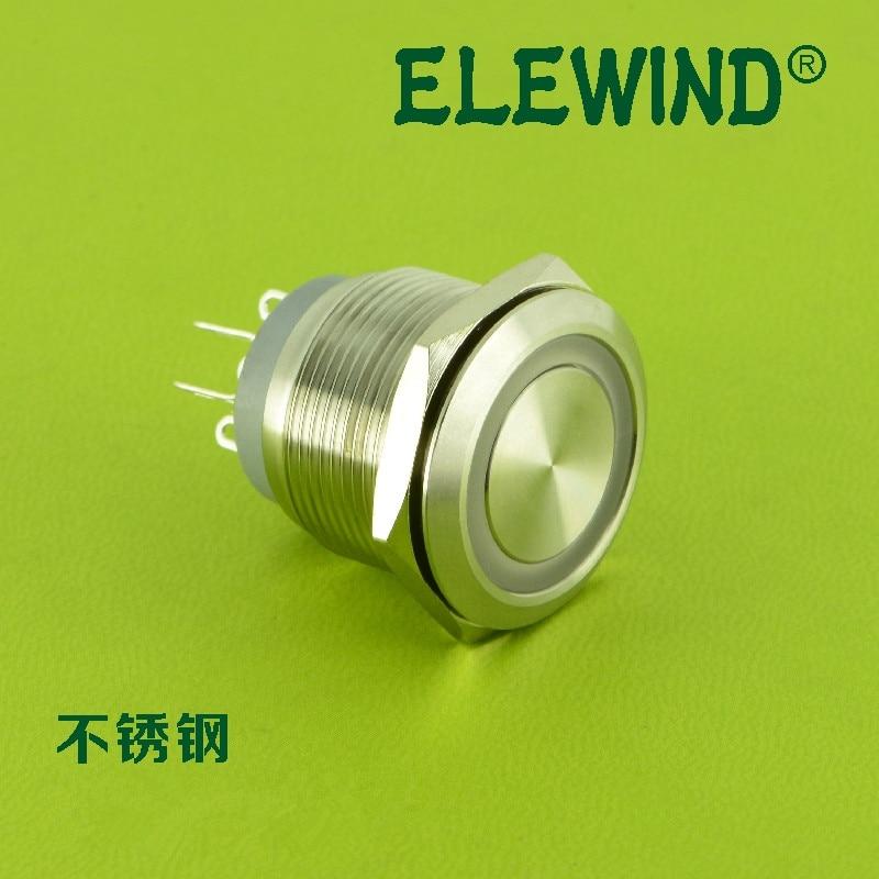 ELEWIND 22mm illuminated micro travel push button switch (PM22-11WE/RG/12V/S)