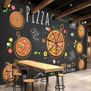 Custom Wall Mural Pizza Shop Hand Painted Abstract Pizza 3D Photo Wallpaper Cafe Dessert Shop Western Restaurant Wall Painting цена 2017
