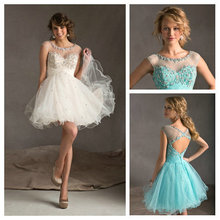 Sexy See Through Short Beaded Mint Green White New 2015 Ruffle Organza Party Gowns for girls Cocktail Dress