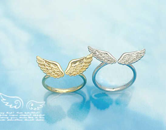Nz16 17 مللي متر حجم الموضة الكورية بالجملة الصغيرة لامعة أجنحة الملاك خاتم الموضة الكلاسيكية الذهب اللون و الفضة اللون