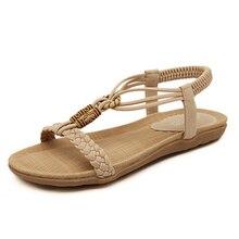 2016 new bohemian beaded sandals women sandals flat shoes large size shoes woman sandalias Large size 4.5-10 s153
