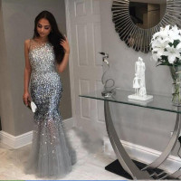 WY B Luxurious Vestidos de fiesta largos elegantes de gala Custom Mermaid Evening Dress Beading 2019 Rhinestone Evening Dress