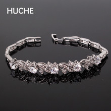 HUCHE Luxury Wave Chram Bracelets For Women Pave AAA Crystal Vintage White Gold Color Gold Color Copper Fashion Jewelry HYJL024