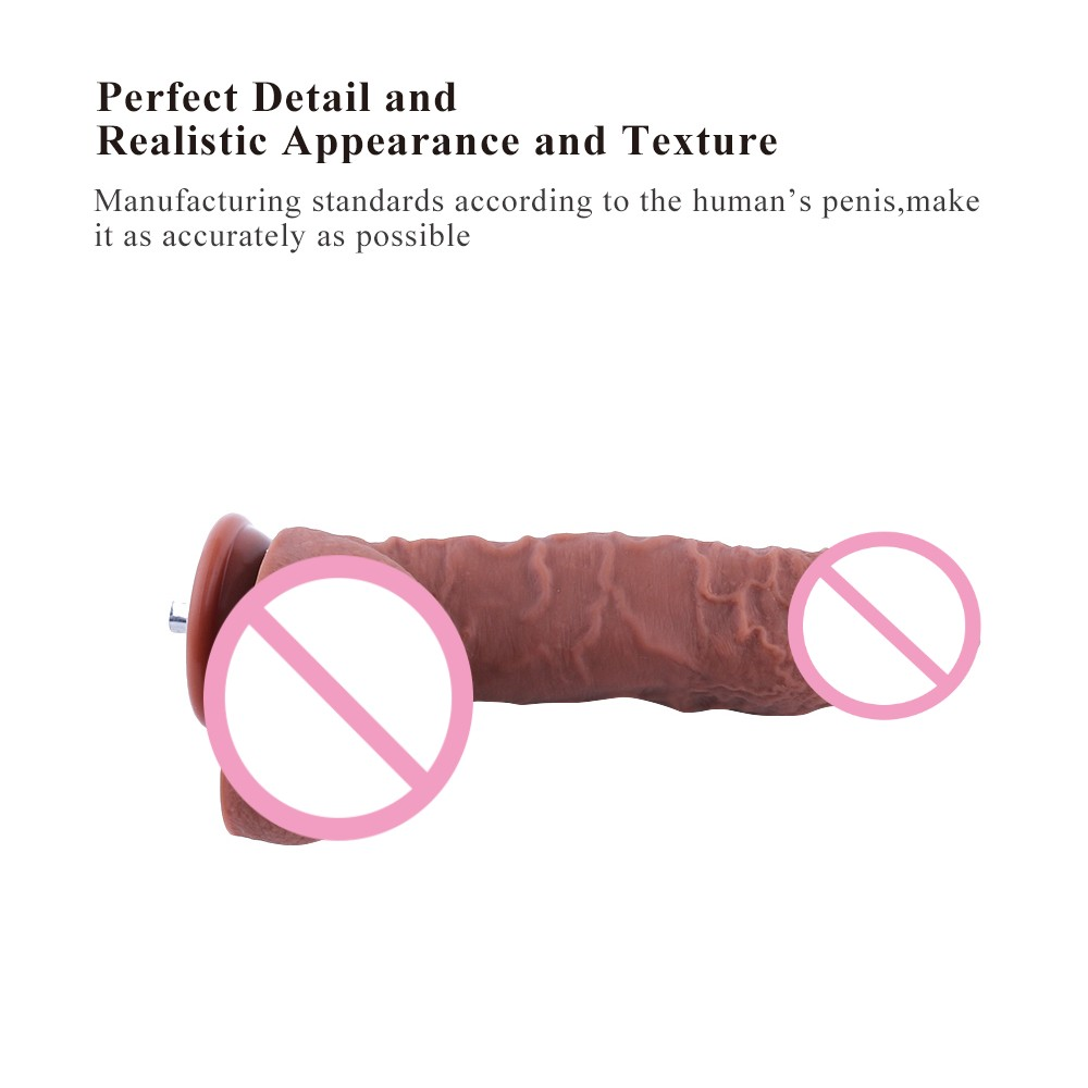 HISMITH Sex machine Add on attachments sex dildo coffee Length 24cm diameter 4 5cm Odorless Medical silicone penis sex toys in Dildos from Beauty Health