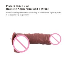 Sex machine Add on attachments dildo coffee Length 24cm diameter 4.5cm Odorless Medical silicone penis sex toys