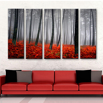 Canvas Set of 5 Landscape Rose Forest in Sunset Canvas Hand Painted Wall Picture for Living Room Wall Art r for Wall Decor