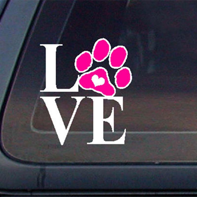 ⓪Amor pata del perro del gato con el corazón etiqueta del coche ...
