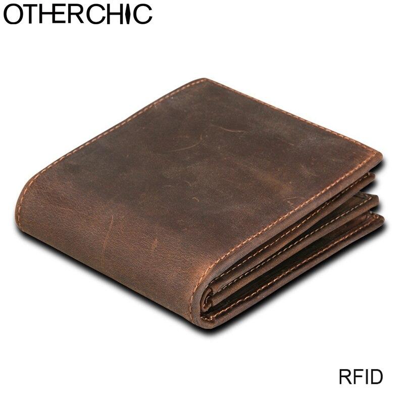 a7c57b3c551f Otherchic Rfid Блокировка Короткие Кошельки Для мужчин Натуральная кожа  кошелек Винтаж Crazy Horse Для мужчин бумажник