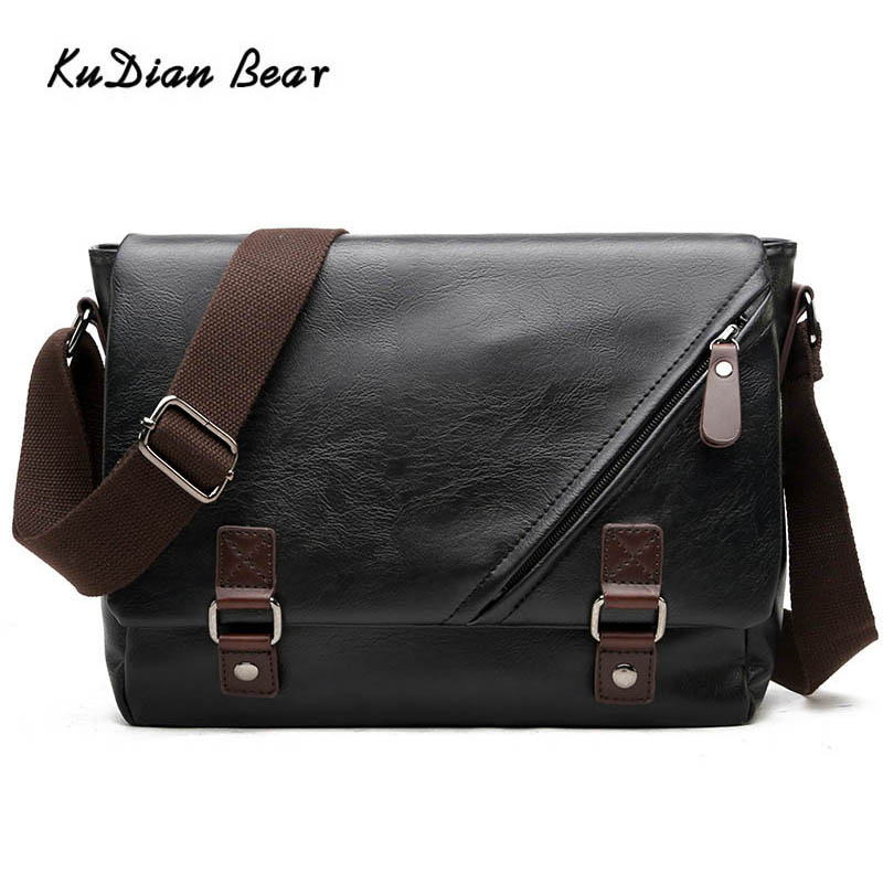 KUDIAN BEAR Fashion Men Messenger Bag Shoulder PU Leather Male Crossbody Bags With Double Belt Waterproof Bolsos BIG008 PM49