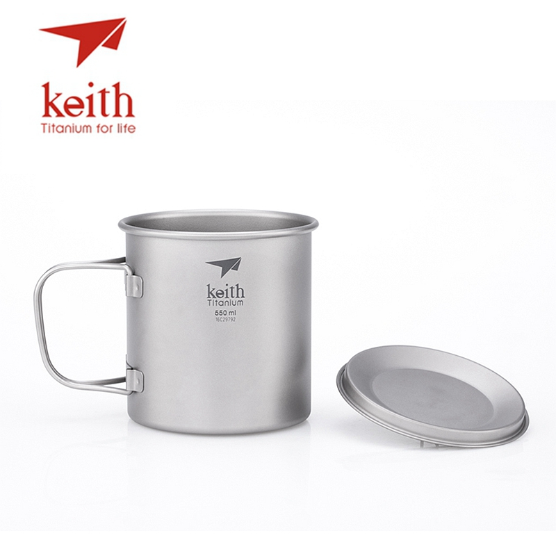 Keith Folding Titanium Water Mugs Camping Cups Drinkware Travel Mug With Lid 550ml keith pure titanium double wall water mugs with folding handles drinkware outdoor camping cups ultralight travel mug 450ml 600ml