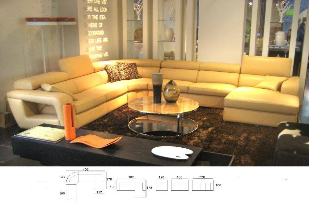 Modern Italian Genuine Leather U Shaped Sectional Sofa Set With
