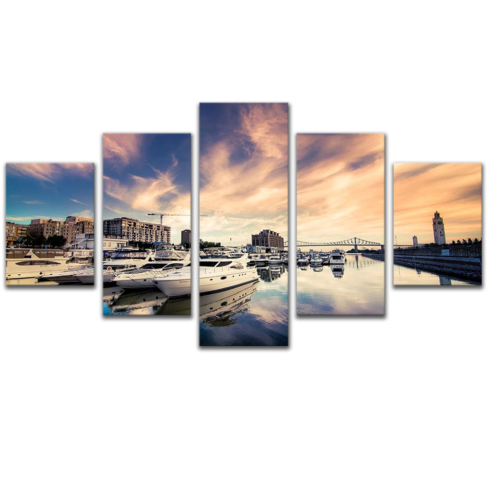 Unframed 5 HD Canvas Prints Cruise Ship City Giclee Modular Picture Prints Wall Pictures For Living Room Wall Art Decoration