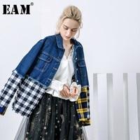 [EAM] 2018 New Autumn Lapel Ong Sleeve Blue Denim Plaid Split Joint Hit Color Loose Big Size Jacket Women Coat Fashion Tide JE69
