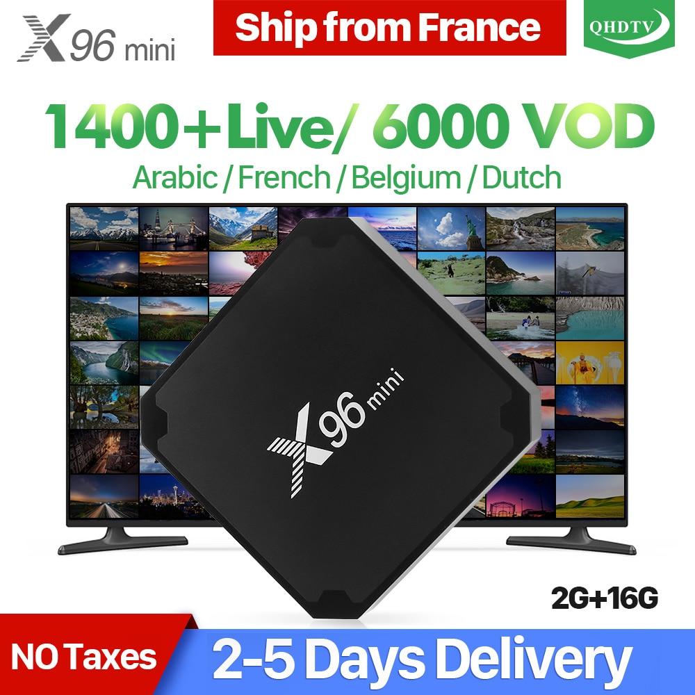 X96 mini IPTV Francia Scatola 2g 16g S905W Android 7.1 QHDTV 1 anno di Abbonamento IPTV X96mini IPTV Arabo olandese Belgio Francia IP TV