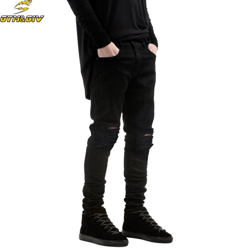 d482bee74cd89 2018 Nouveau Noir Déchiré Jeans Hommes Avec Trous Denim Super Skinny ...