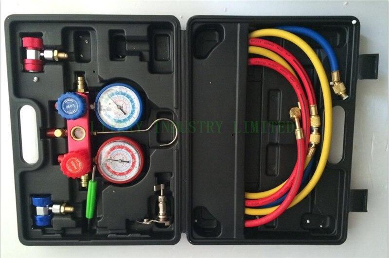 Ensemble de jauge de collecteur réfrigérant de l'outil de réparation de climatiseur/ca R134a avec le type droit connecteur rapide de coupleur de haute qualité