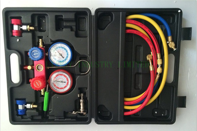 air conditioner/ ac  repair tool R134a refrigerant manifold gauge set with straight type quick coupler connector high quality
