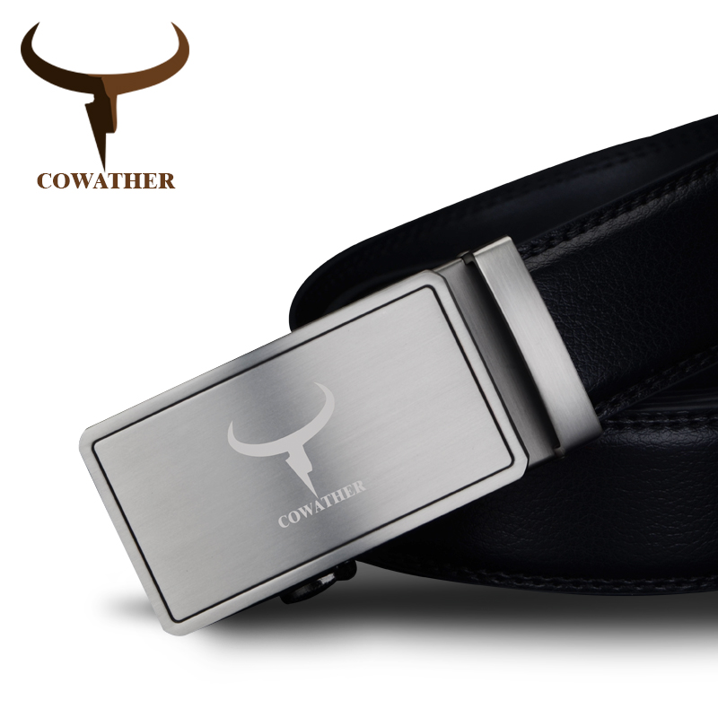 COWATHER 2019 Men's Belt Fashion Top Quality Cow Genuine Leather Belts For Men High Quality Alloy Automatic Buckle Strap Male