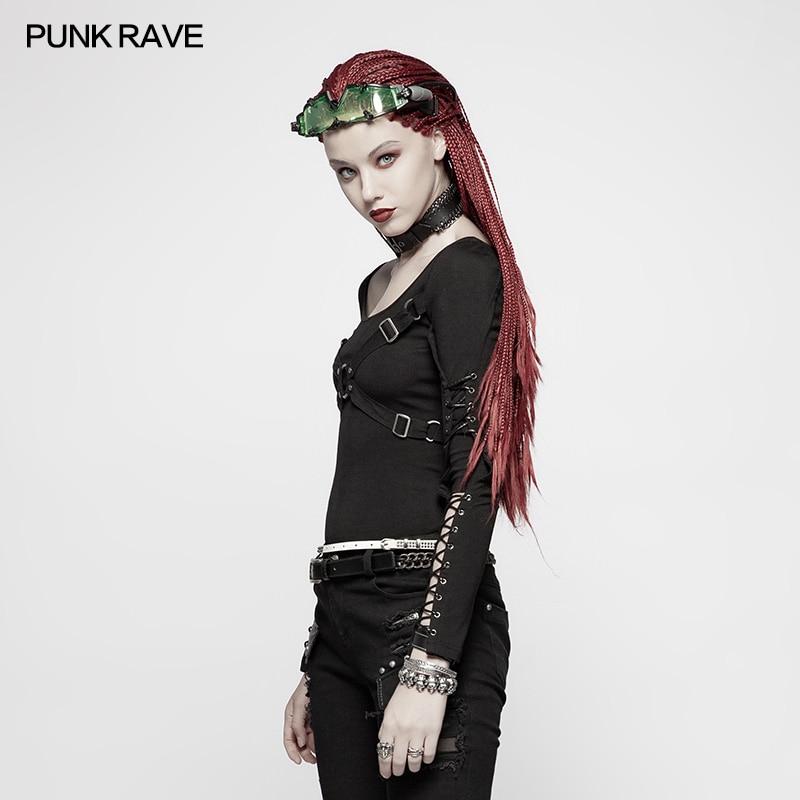 De Mode Nouveauté Wt538 Tops Coton Rock out Rave Personnalité Punk Femmes Manches T Casual Creux Longues shirt zq8qav