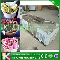Big pan thai ice cream rolling machine, fry ice cream roller machine with R410a refrigerant