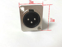 20 PCS Metal 3PIN XLR Male Silver Chassis Panel Mount Socket CONNECTOR
