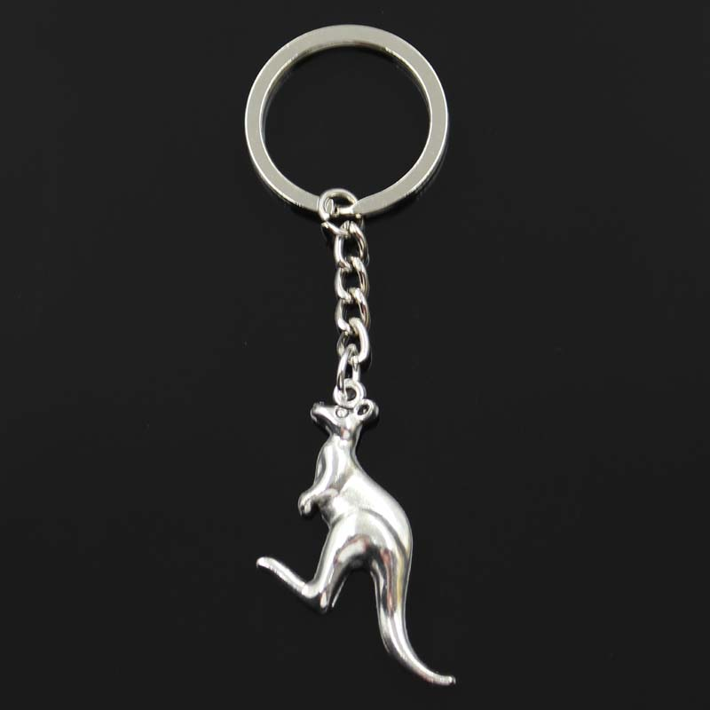 Fashion Kangaroo 47x31mm Pendant 30mm Key Ring Metal Chain Bronze Silver Color Men Car Gift Souvenirs Keychain Dropshipping