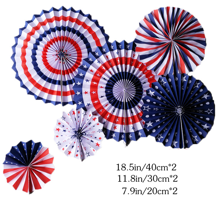 6pcs Round Hanging Paper Fans USA Red White Blue Star Strips Tissue Fan For Independence Day Party Home Decoration
