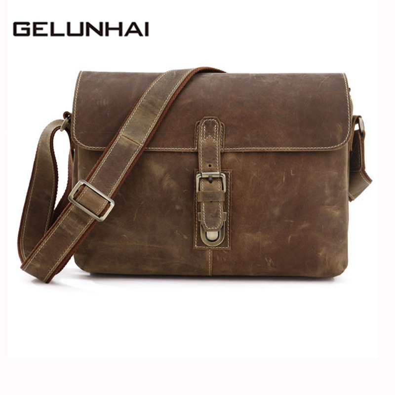 2017 Direct Selling Special Offer Cotton Flap Genuine Leather Men Bag Vintage Crazy Horse Crossbody Shoulder Handbag Men's 7084 2017 special offer direct selling piscina pool zapatillas padel double floating row inflatable bed beach mat water cushion