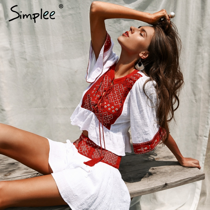 Simplee Lace up embroidery two-piece romper Women jumpsuit tassel boho beach playsuit 2018 Ethnic summer macacao feminino