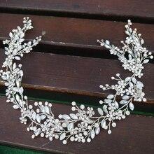 Opal Crystal Bridal Headband Luxury Hair Vine Crown Antique Silver Wedding Tiara Handmade Brides Headpiece Prom Jewelry